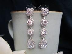 Sparkle filled 4 stone bridal earrings, wedding earrings, fasion, CZ earrings, cubic zirconia earrings, wedding jewelry, bridal jewelry