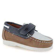 Sapato vela de pele com velcro Couro e navy