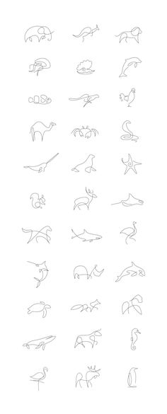 Tiny Tattoo Idea - Minimalist One Line Animals By A French Artist Duo - Art - Tattoo Designs For Women One Line Animals, Handpoke Tattoo, Beste Tattoo, Animal Logo, Tattoo Animal, Small Animal Tattoos, Cheetah Tattoo, Small Fish Tattoos, Piercing Tattoo