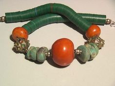 Vintage Amazonite, amber, silver enamelled Berber bead marie ange von son 184