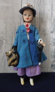 vintage doll 60s 11inch horseman mary poppins doll | 8+2.8