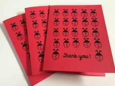Ladybug Thank You Cards, Set of Thank You Cards, Thank you for being so thoughtful, made on recycled paper, comes with envelope and seal by ladybugonaleaf on Etsy