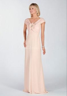 dropped waist flowers chiffon short sleeves v-neck a-line mother of the bride dress - Gindress.com