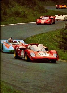 Nurburgring, 1970, Porsche 908/3 Vs Ferrari 512S. Siffert/Redman - John Wyer Automotive. Giunti/Merzario - SpA Ferrari SEFAC.