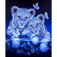 New Full Diamond Embroidery Tiger Diy Diamond Painting Full Drill Round Diamond Mosaic Animals Home Decoration Paintings