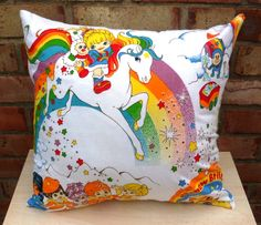 Rainbow Brite Vintage Fabric Cushion
