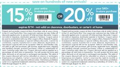 Pinned August 10th: 20% off $40 and more at Carters, or online via promo code #CARTERS20 #coupon via The Coupons App