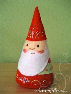 felt embroidered NOM gnome doll PDF pattern