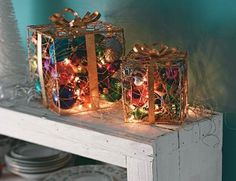 Step 1: Add Ornaments & Lights  Pack extra ornaments inside purchased wire gift boxes and added strings of lights.Step 2: Plug in Boxes  Plug in the string lights and place your boxes on the mantel, on the tabletop or in your entryway.