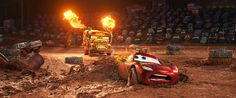 """CRAZY 8 DRAMA — In """"Cars 3,"""" Lightning McQueen (voice of Owen Wilson) hits the road in an effort to reignite his career. Along the way, he finds himself in the middle of a smash-and-crash, figure-8 race, facing off against local legend Miss Fritter, a formidable school bus who—like #95 himself—doesn't like to lose. Featuring Lea DeLaria (Netflix's """"Orange is the New Black"""") as the voice of Miss Fritter, Disney•Pixar's """"Cars 3""""."""