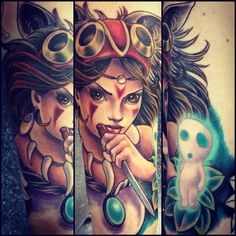 Totally a different take on the anime tattoos. This is so well done though, I really like how they portrayed Princess Mononoke