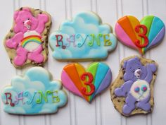 Care Bear cookies for one of my favorite 3 year. - Cookie Couture by Sarah First Birthday Themes, 1st Birthday Parties, 4th Birthday, First Birthdays, Care Bear Party, Care Bear Birthday, Bear Cookies, Fancy Cookies, Rainbow Birthday