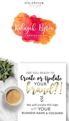 SIX ELEVEN DESIGNS - Premade Logos on Etsy - Modern Branding Solutions for your business - Logos for your business, boutique or blog. Blogger header, Blog Header and social media. Photography Logos, Business Logos, Boutique Logos, Shop Logos, Brand Logos. Watercolour, Watercolor, Orange