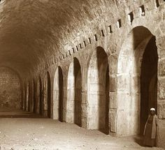 Solomon's Stables under the Temple Platform, Temple Mount, Jerusalem, the current site of the Dome of the Rock.  The first home of the Knights Templar. Photo taken in the early twentieth century when the site was accessible.