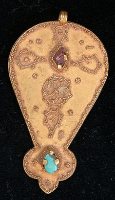Pendant  Date: 11th–12th century Geography: Iran Medium: Gold; granulation, set with pearls, turquoise and pink tourmaline Classification: Jewelry Credit Line: The Alice and Nasli Heeramaneck Collection, Gift of Alice Heeramaneck, 1980