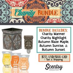Charity Bundle - $55, comes with Charity Warmer, Charity Nightlight & your choice of 3 Scentsy Bars. Order today at www.smellarific.com. Flyer By: Angela O'Hare