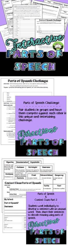 NO PREP! REFRESH STUDENTS' UNDERSTANDING OF PARTS OF SPEECH THROUGH INTERACTIVE PRACTICE THAT ALSO BUILDS STUDENT SKILLS WITH CONTEXT CLUES. This product includes 4 activities to reinforce nouns, verbs, adverbs, adjectives, and interjections with engaging student collaboration that is designed for older students. $3.00
