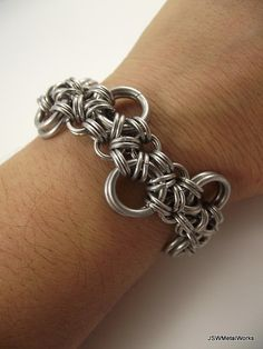 Stepping Stone Chainmail Bracelet Aluminum by JSWMetalWorks