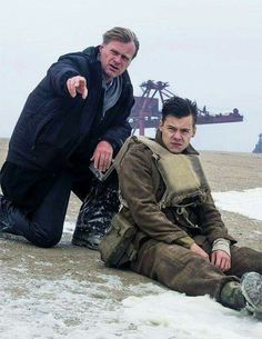 Harry and Christopher Nolan on the set of Dunkirk