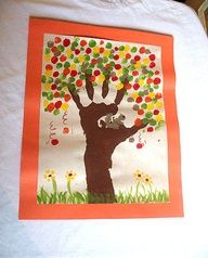 Preschool Crafts for Kids*: Fingerprint Fall Tree Craft - I wouldnt do this one with too young kids- the 5 year old was over it after 6 finger prints. Maybe a good craft for older kids to do on their own- after the trunk of course.