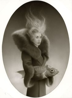 """Travis Louie ::  One in a series of paintings depicting Victorian characters and their mythical pets for his upcoming show """"The Secret Pet Society"""" at the William Baczek Fine Arts gallery in Northampton, Massachusetts, May 2 through June 2, 2012."""
