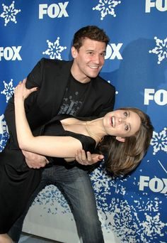 Emily Deschanel and David Boreanaz at the FOX Winter All-Star Winter Party on January 21, 2007