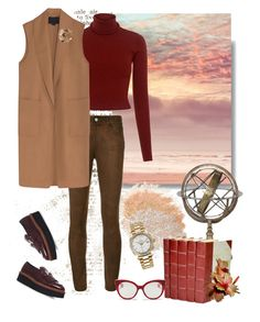 """Camel vest"" by murenochek ❤ liked on Polyvore featuring Paige Denim, Eichholtz, A.L.C., Alexander Wang, Tod's, Bliss Studio, Miu Miu and Rolex"