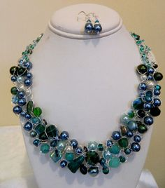 Bridesmaids Peacock Teal Wire Crochet Necklace and Earring Set. $66.00, via Etsy.