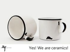 2 x The Not Enamel Handmade Ceramic Mug White by AgafDesign
