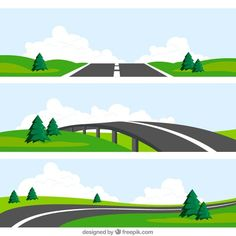 Road landscapes Free Vector