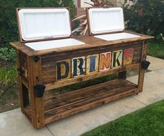 outdoor bar Rustic table cooler for Sale in Murrieta, CA - OfferUp Backyard Bar, Backyard Patio Designs, Backyard Projects, Home Projects, Patio Ideas, Patio Cooler, Outdoor Cooler, Table Cooler, Beer Cooler