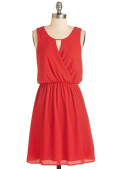 Girly Mornings Dress. Dance out of bed and right into this bright red dress! #red #modcloth