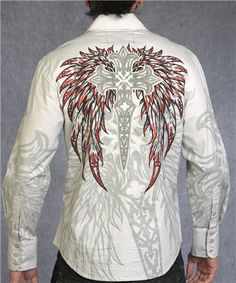 Rebel Spirit button front arrives Tuesday! Mens Outdoor Fashion, Mens Fashion, Fashion Outfits, Camisa Rock, Affliction Clothing, Urban Cowboy, Denim Shirt Men, Knifes, Looks Cool