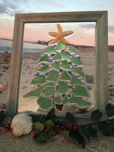 Beach glass framed Christmas tree design decor hanging rustic ...