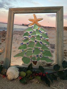 "Christmas Tree by the Sea 10.5"" w x 12.5""h, Sea Glass Art, Beach Decor by SeabirdDesign on Etsy https://www.etsy.com/listing/257337699/christmas-tree-by-the-sea-105-w-x-125h"