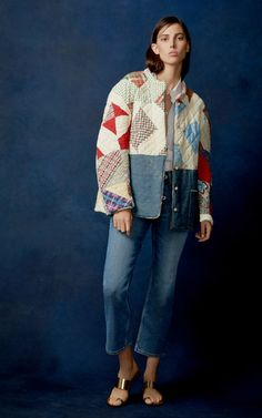 This B SIDES x BODE M'O Exclusive patchwork cotton jacket features re-purposed mid-century hand-repaired quilts with denim aprons as patch details. Quilted Clothes, Quilted Jacket, Quilted Coats, Cotton Jacket, Apparel Design, Pattern Fashion, Diane Von Furstenberg, Diy Clothes, What To Wear