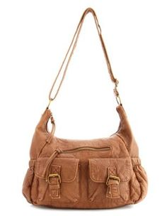 distressed double pocket bag