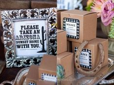 Chic Western favors in simple kraft gift boxes.   http://www.nashvillewraps.com/gift-boxes/kraft-gift-boxes/c-003116.html