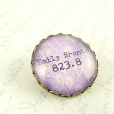 Emily Bronte Pin Brooch - Decimal System Library Classification - Librarian Book Accessory
