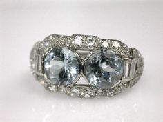 Two-stone Aquamarine Ring
