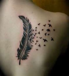feather tattoo with birds flying away #love