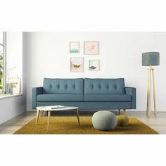 FJORD Canapé droit fixe 3 places - Tissu bleu paon - Scandinave - L 215 x P 88 cm - Achat / Vente canapé - sofa - divan Structure : En bois massif, panneaux de particules et contreplaqué -Revêtement : Tissu 100% polyester - Cdiscount