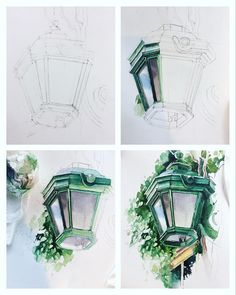 Step by step ✨ All my lanterns here 🔹 # lanterninwatercolorsketchbook_jb 🌿 … Watercolor Drawing, Watercolor Illustration, Painting & Drawing, Watercolor Paintings, Drawing Step, Drawing Ideas, Painting Inspiration, Art Inspo, Art Sketches