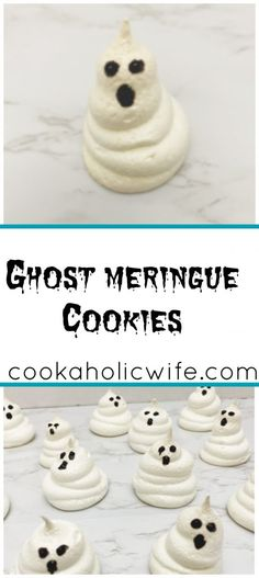 Ghost Meringue Cookies | these easy to make meringue cookies are decorated as ghosts, perfect for Halloween | www.cookaholicwife.com