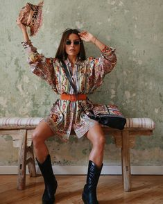 Summer Boots Outfit, Spring Boots, Date Outfit Casual, Summer Dress Outfits, Boho Outfits, Fashion Outfits, Cowboy Boot Outfits, Dresses With Cowboy Boots, Black Cowboy Boots