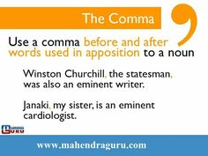 """Comma usage""..!!!! #English  SUBSCRIBE US:- www.youtube.com/c/MahendraGuruvideos Join us:- FACEBOOK - www.facebook.com/Emahendras/ INSTAGRAM- www.instagram.com/mahendra.guru/ TWITTER- twitter.com/Mahendras_mepl PINTEREST -in.pinterest.com/gurumahendra/ VISIT OUR WEBSITE- www.mahendraguru.com/ Google + :plus.google.com/+MahendraGuruvideos"