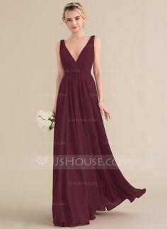 3a6763bf3ef A-Line Princess V-neck Floor-Length Chiffon Bridesmaid Dress With Ruffle