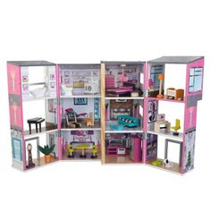 It's time to play house. Our Contemporary Deluxe Townhouse giveskids 3 floors and 12 rooms of open space to play with and decorate.The colorful furniture pieces Dollhouse Kits, Dollhouse Dolls, Santas Workshop, Barbie House, Colorful Furniture, Architecture, Fun Projects, Townhouse, Locker Storage