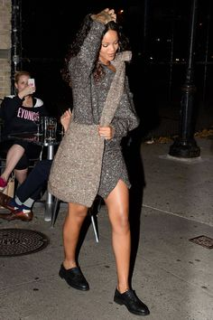 Rihanna glamorizes the sweater dress trend here: