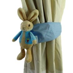 We won't have curtains, but how CUTE is this? Peter rabbit curtain tie back by Tinytoadcreations on Etsy